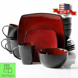 Dinnerware Set 16 Piece Square Dinner Plates Mugs Dishes Bow