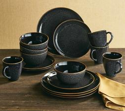 Dinnerware Set 16 Piece Stoneware Serving Dishes Black Speck