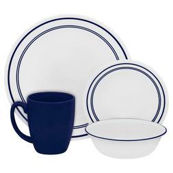 Corelle Dinnerware Set 16 Round Cafe Blue Chip Resistant Lig