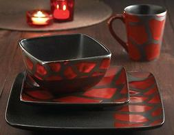 American Atelier Dinnerware Set 16pc Dishes Plates Square Re