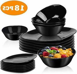 Dinnerware Set 18-piece Black Dishes Sets Service for 6, 11