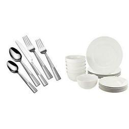 Dinnerware Set,18-Piece Porcelain, 20 piece Stainless Steel
