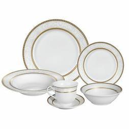 Lorren Home Trends Dinnerware Set, White/Gold