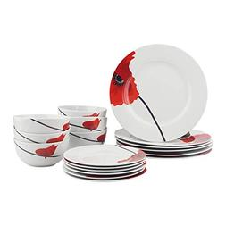 AmazonBasics 18-Piece Dinnerware Set - Poppy, Service for 6