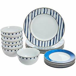 AmazonBasics 18-Piece Dinnerware Set - Blue Accent, Service