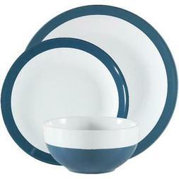 Dinnerware Set Aqua Angela 12 Piece Round Stoneware Bright W