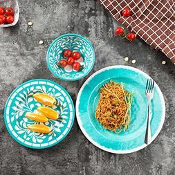 Dinnerware Set for 6-18pcs Melamine Dinner Plates Set, Servi