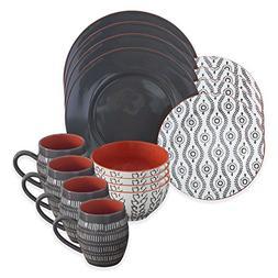 Dinnerware Set Includes 4 dinner plates, 4 salad plates, 4 b