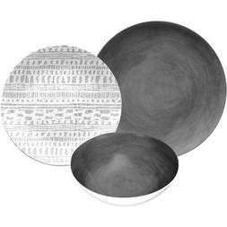 Dinnerware Set Made of Melamine Grey Glaze 12pcs