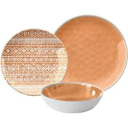 12-Piece Reactive Dinnerware Set, Tan
