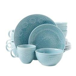 Dinnerware Set Porcelain, Dishwasher and Microwave Safe, Aqu