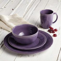 Dinnerware Set Purple Stoneware Round 16 Piece Plate Bowl Mu