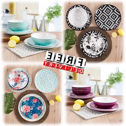 Dinnerware Set Round Melamine Service 12/24 Piece  Dinner Pl