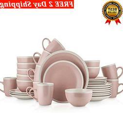Dinnerware Set Service For 8  Pink & Cream 100% Dishwasher M