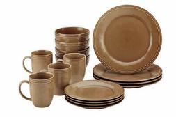 dinnerware set stoneware microwave freezer safe brown