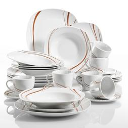 VEWEET Porcelain Dinnerware Set Stripe Pattern Ivory White K