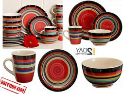 Dinnerware Set Striped Dinner Plates Mugs Dishes Bowls Home