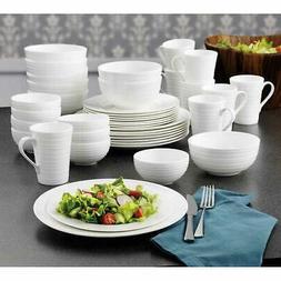 Mikasa Dinnerware Set Swirl Bone China 40-Piece White Serves