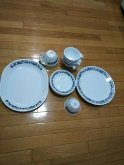 Corelle dinnerware set vintage-20pcs white/blue