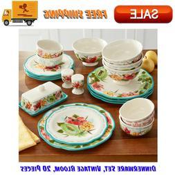 Dinnerware Set, Vintage Bloom, 20 Pieces,Kitchen, Dining & E