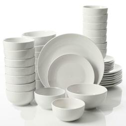 Dinnerware Set White Service for 8, 40 Piece Round fine Cera