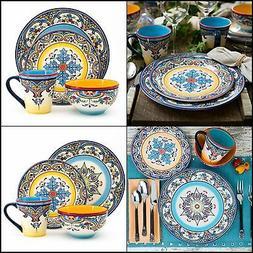 Euro Ceramica Zanzibar Vibrant 16 PC STONEWARE Dishware-WITH