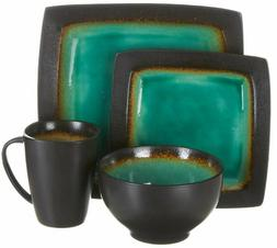 Dinnerware Sets 16 Piece Crockery Set Dishes Service Turquoi