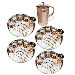 Prisha India Craft ® Set of 4 Dinnerware Traditional Stainl
