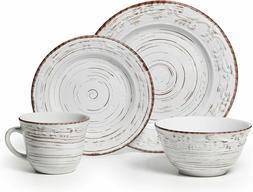 Dinnerware Trellis White 16-Piece Pottery Set for 4 Casual F
