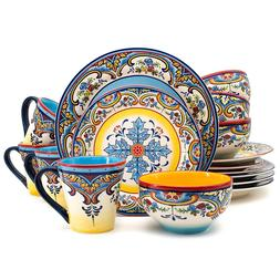 Earthenware Dishes Dinnerware Set Mexican Floral Design Mult