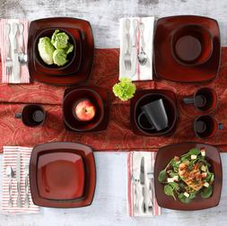 Dishes Dinnerware Sets Clearance Red 16pc Service for 4 Plat