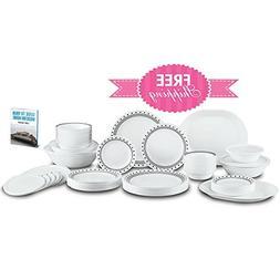 Dishware Set Service For 12 White Black Chip Resistant Home