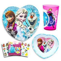 Disney Frozen Toddler Dinnerware Set - Plate, Bowl, Cup, Sti