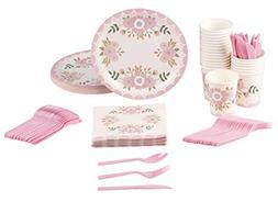 Disposable Dinnerware Set - Serves 24 - Vintage Floral Party