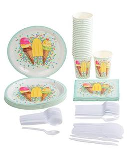 Disposable Dinnerware Set - Serves 24 - Ice Cream Party Supp