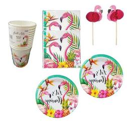 Disposable Dinnerware Set - Serves 24 - Flamingo and Pineapp