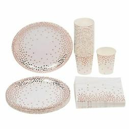 Disposable Dinnerware Set - Serves 24 - Party Supplies, Rose