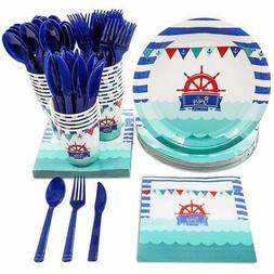 Disposable Dinnerware Set - Serves 24 - Nautical Themed Baby