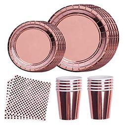Disposable Dinnerware Set Rose Gold Party Supplies Elegant F