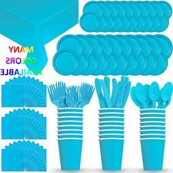 HeroFiber Disposable Paper Dinnerware for 24 - Aqua / Island