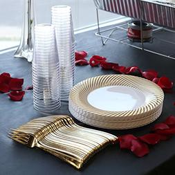 Kaya Collection - Swirl Gold Disposable Plastic Buffet Party