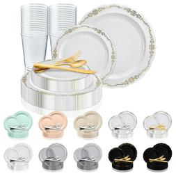 Disposable Plastic Dinnerware Set Wedding Party Package Eleg