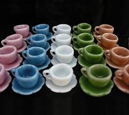 40 Pcs Dollhouse Miniature Mixed Colors Ceramic Coffee/Tea C