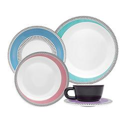 Oxford 20 Piece Dots Collection Moon Dinnerware Set