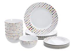 Dots Color - 18-Piece Dinnerware Set - Dots, Service for 6