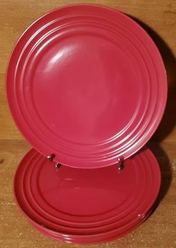 """Rachael Ray DOUBLE RIDGE RED Dinner plate set of 4, 11 1/8"""","""