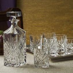 Dublin Whiskey-Bar Set 8 pc 6 dof, decanter