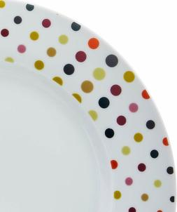 Durable Porcelain Polka Dots 18-Piece  Dinnerware Set Servic