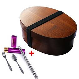 Ieasycan Eco-friendly Japanese Bento Boxes Wood Lunch Box Ha