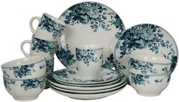 Elama Round Stoneware Colored Pattern Dinnerware Dish Set, 1